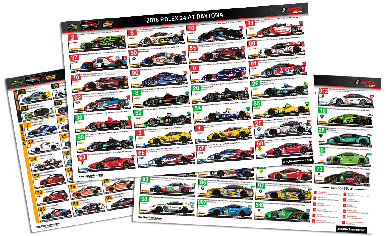 2017 official imsa spotter guide schedule spotter guides 24h schemes